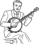 playing,banjo,people,man,music,musical instrument,string instrument,line art,black and white,contour,coloring book,outline,musical instrument,string instrument,wikimedia common,psf,musical instrument,string instrument,wikimedia common