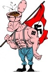 skinhead,media,clip art,externalsource,public domain,image,svg,cartoon,people,man,flag,racism,fascism,nazism
