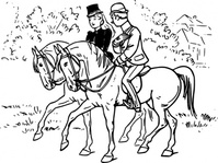 couple,riding,horse,rider,meeting,joke,black & white,contour,outline,externalsource,wikimedia common,wikimedia common,wikimedia common,wikimedia common