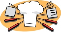 tool,media,clip art,public domain,image,png,svg,bbq,barbeque,barbecue,equipment,spatula,fork,skewer,hat,toque,chef,cooking,cook,grill