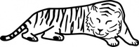 sleeping,tiger,outline,animal,cat,cartoon,nature,black & white