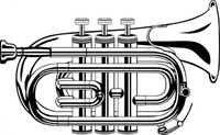 pocket,trumpet,flat,music,instrument,colouring book