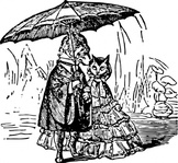 umbrella,dog,cat,couple,anthropomorphic,dressed,rain,media,clip art,externalsource,public domain,image,png,svg