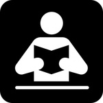 person,reading,book,park,map,pictograph,symbol,service,cartography