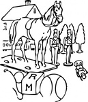 horse,building,tree,toy,outline,christmas,ball,media,clip art,externalsource,public domain,image,png,svg
