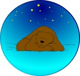 sleeping,bear,under,star,circle,clip