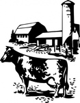 barn,animal,mammal,cow,bovine,farm,silo,contour,outline,black & white