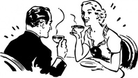 coffee,couple,tea,man,woman,dining,black & white,contour,outline