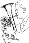 playing,alto,horn,people,man,music,musical instrument,brass instrument,alto horn,drawing,line art,black and white,contour,coloring book,outline,musical instrument,brass instrument,wikimedia common,psf,musical instrument,brass instrument,wikimedia common