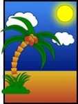 coredump,postcard,cartoon,plant,nature,colour,palm,tree,coconut,island