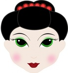 geisha,girl,anime,face,cartoon,head,media,clip art,public domain,image,png,svg