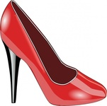 shoe,leather,red,shiny,contour,heel,high heeled,colour