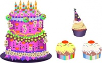 birthday,cupcake,cartoon,food,delicacy,confectionery,sweet,bake,baking,bakery,candle,celebration,happy,color,colorful