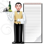 young,waiter,writing