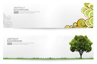 abstract,banner,clear,floral,grass,green,isolated,swirl,tree,white