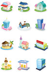 city,collection,department,hauses,holiday,home,house,map,office,season,set,tree,vector icon