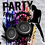 illustration,grunge,template,party,nigh,life,abstract,retro,speaker,woman,lady,girl,people,silhouette,splat,paint,artwork,element,dance,music,music party