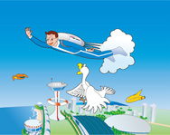 old,illustration,cartoon,flying,boy,jetpack,airport,helipad,futuristic,duck,goose