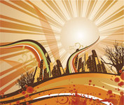 sun,sunshine,cityscape,city,building,skyscraper,scape,background,cap,curve,film,film strip,flowing curve,flowing vector,moon,sky,splat,splatter,sunrise,tree,wing