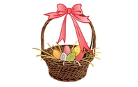 easter,basket,egg,rabbit,bunny,ribbon,bunch,color,colorful