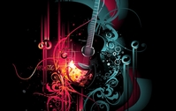 music,trend,graphic,illustration,guitar,shape,abstract,background,wallpaper,backdrop,theme,glow,black,gold
