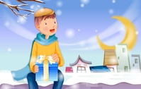 christmas,xmas,moment,boy,snow,gift,card,background,snowy,bench,park