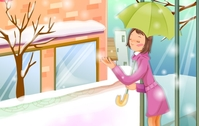 christmas,xmas,season,girl,lady,umbrella,mirror,shed,building,snow,road,icy,falling,winter