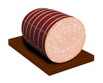 food,calorie,typical product,sausage,bologna,mortadella,sliced