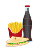 food,fast food,menu,french fries,pommes,frites,potato,coke,soda,lemonade,sandwich,bread
