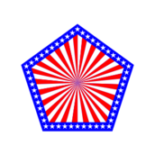 amerigon,pentagon,american,flag,red,white,blue