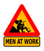 man,work,worker,road sign,funny,humor,break,men at work,man at work,summer,flower,daisy,marguerite