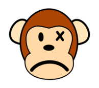 monkey,mammal,animal,cartoon,smiley,emoticon,angry,sad,hurt,media,clip art,public domain,image,svg
