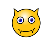 smiley,face,emoticon,emote,devil,demon,teeth,horn,media,clip art,public domain,image,png,svg,horn,horn