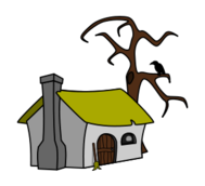 colour,cartoon,fairytale,house,cottage,cabin,witchs cottage,media,clip art,public domain,image,png,svg