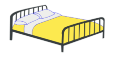 bed,double bed,steel bed,furniture,yellow,bedroom,media,clip art,public domain,image,png,svg