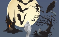 spooky,halloween,castle,house,haunted,ghost,crow,bat,witch,tree