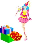 party,clown,woman,box,of,present