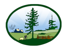 media,remix,clip art,public domain,image,png,svg,landscape,country,farm,scenic,green,tree,pine tree,hiker,farmhouse,badge