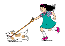 media,clip art,public domain,image,png,svg,usda,girl,child,cartoon,dog,pet,canine,activity,walking,animal